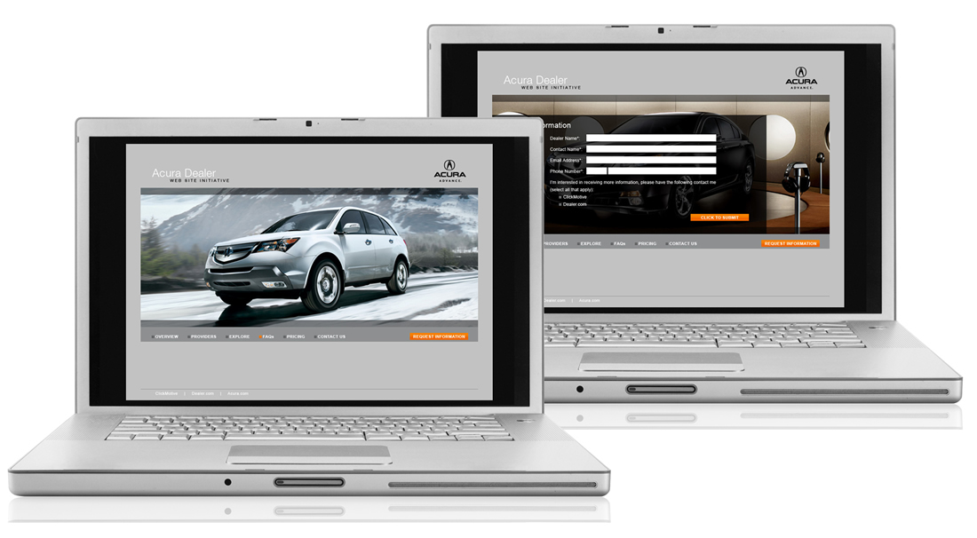 Acura Dealer Microsite - Copywriting, Design, HTML Email Blasts, Layout, Product Development, Product Direction, Website